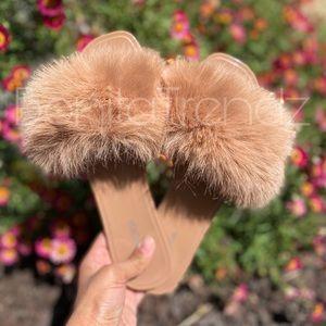 Vegan Fur Nude Slides Sandals